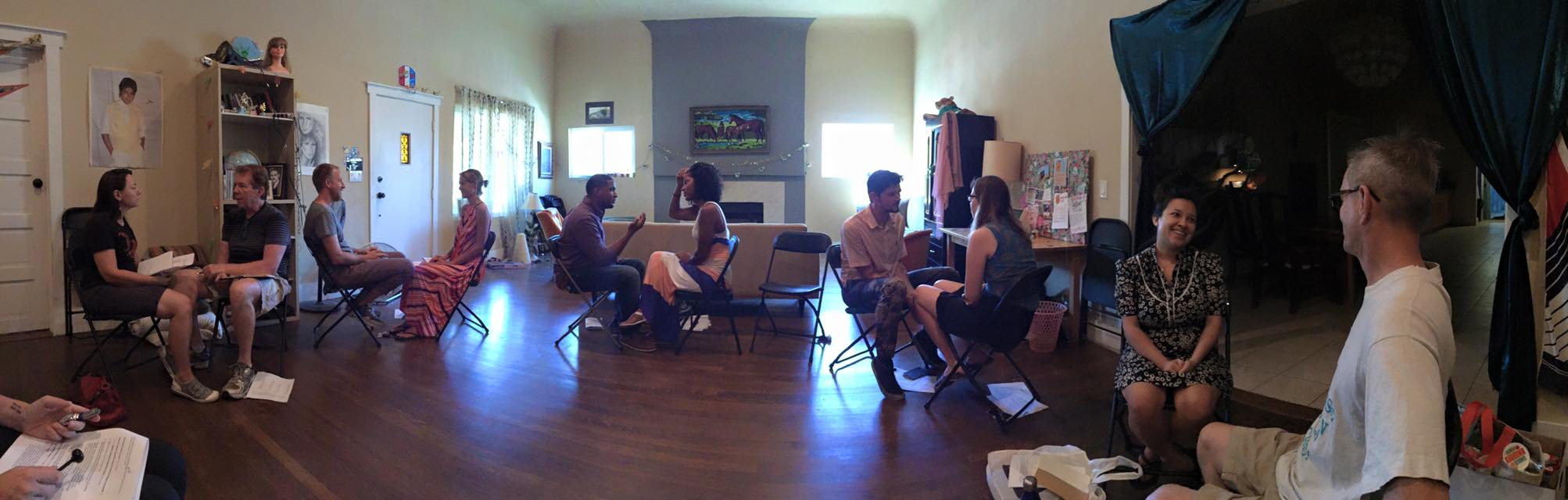 Panoramic shot of couples in mindful communication class